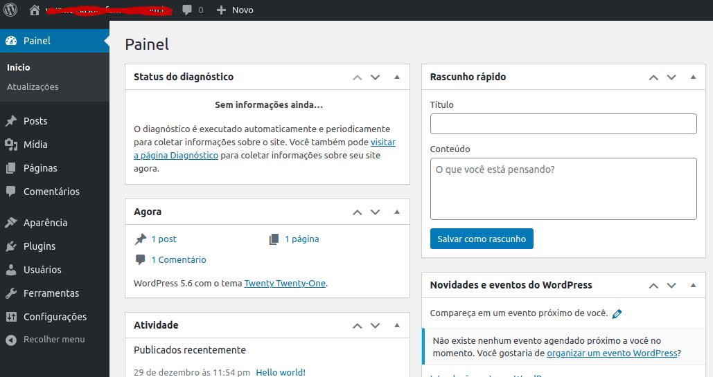 Painel padrão do WordPress